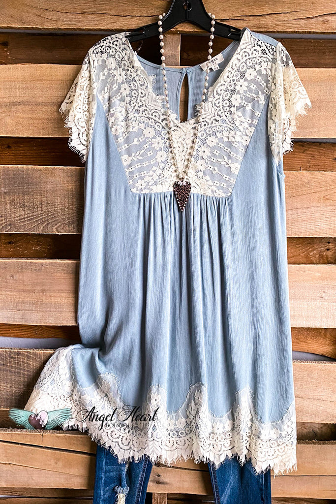 Short Sleeve Dress w/ Lace - Dusty Mint