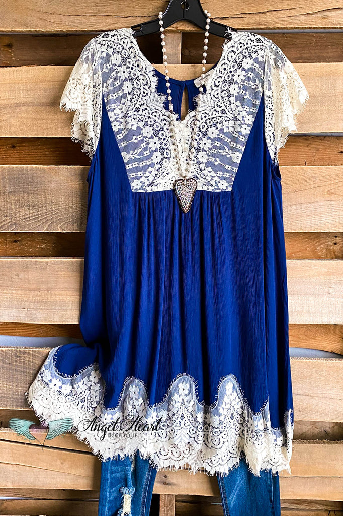 Short Sleeve Dress w/ Lace - Navy - SALE
