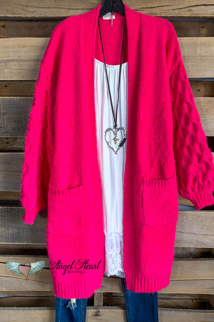 On My Terms Sweater Cardigan - Fuchsia - SALE