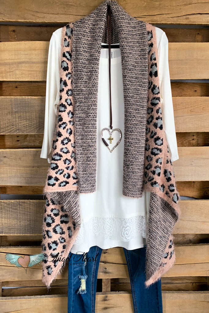 Eyelash Cheetah Vest - Dusty Rose