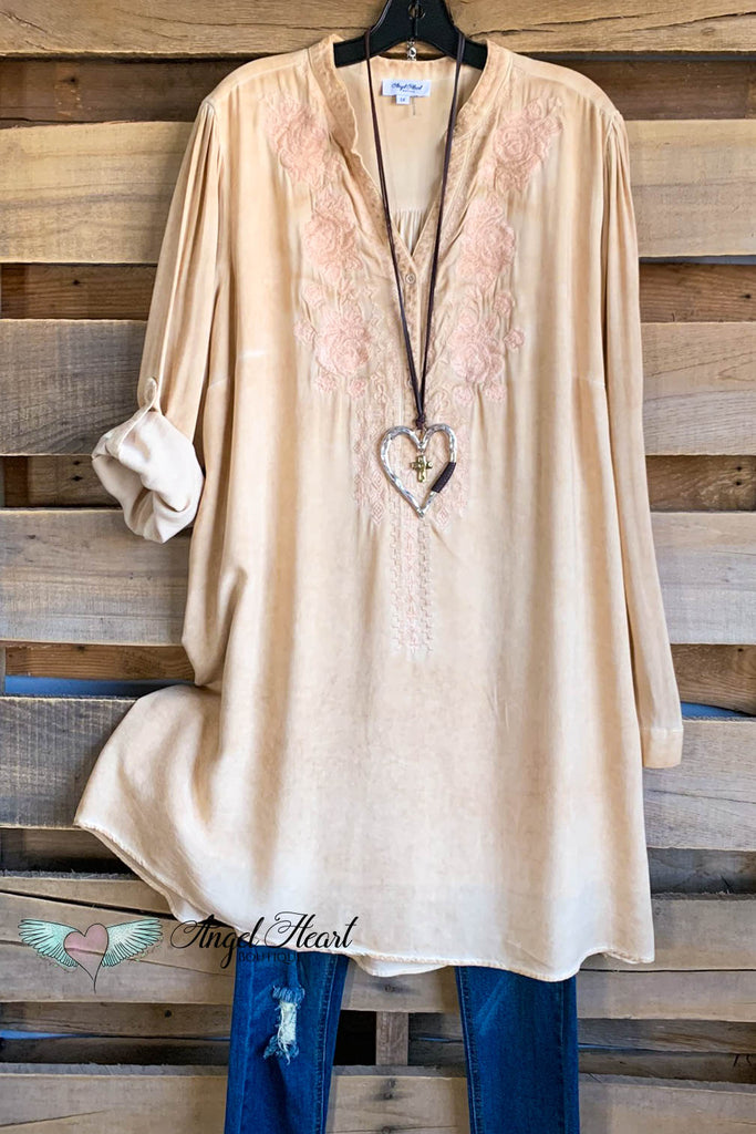 AHB EXCLUSIVE: Here When You Need Me Dress - Taupe/Peachy