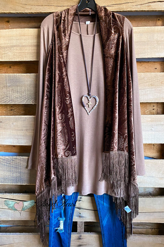 Empress Velvet Fringe Vest - Brown