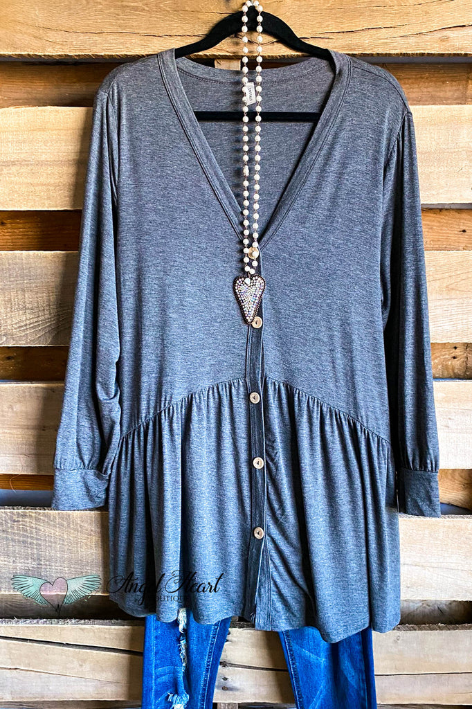 Peaceful Skies Tunic Top - Charcoal
