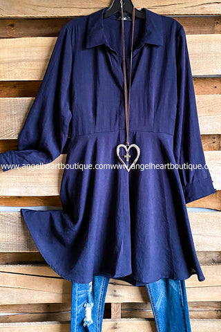 Driving Me Crazy Tunic - Ash Blue