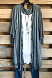 No More Heartache Fringe Cardigan - Grey