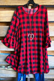 Positively Plaid Dress - Red