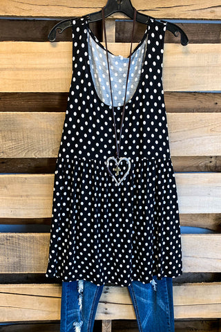 Polka Dot Sleeveless Summer Top - Ivory - SALE