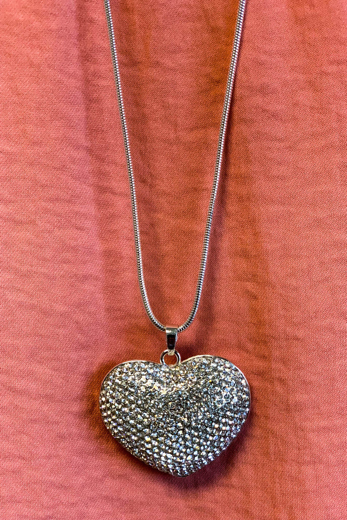 Disco Diva Diamond Heart Necklace - Silver