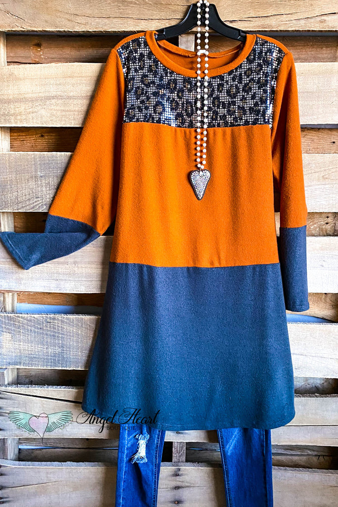 Cozy Cuddles Dress - Rust/Charcoal