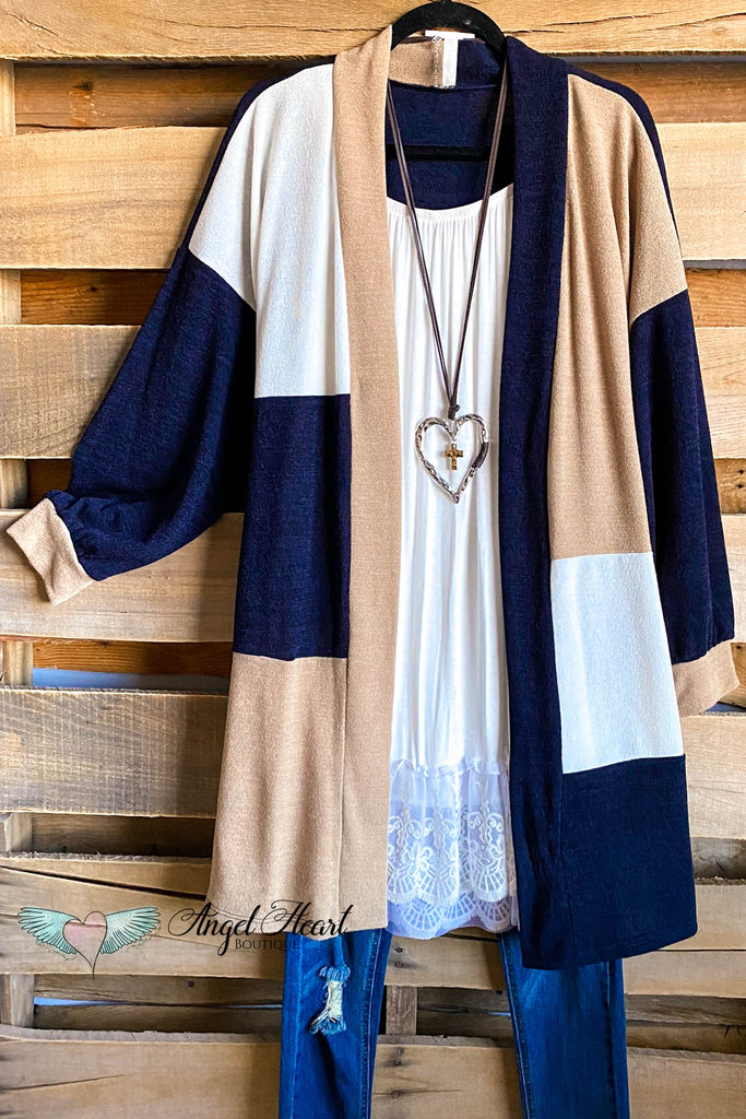 Needing You The Most Knit Cardigan - Navy/Taupe