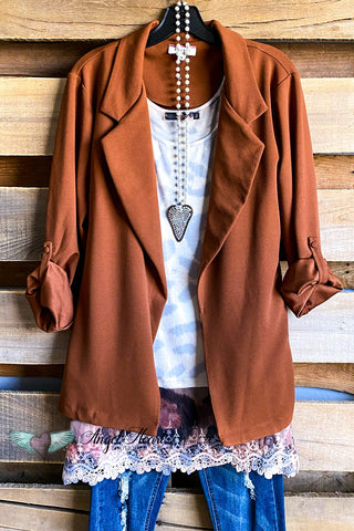 Crisscross Heart Top - Brown