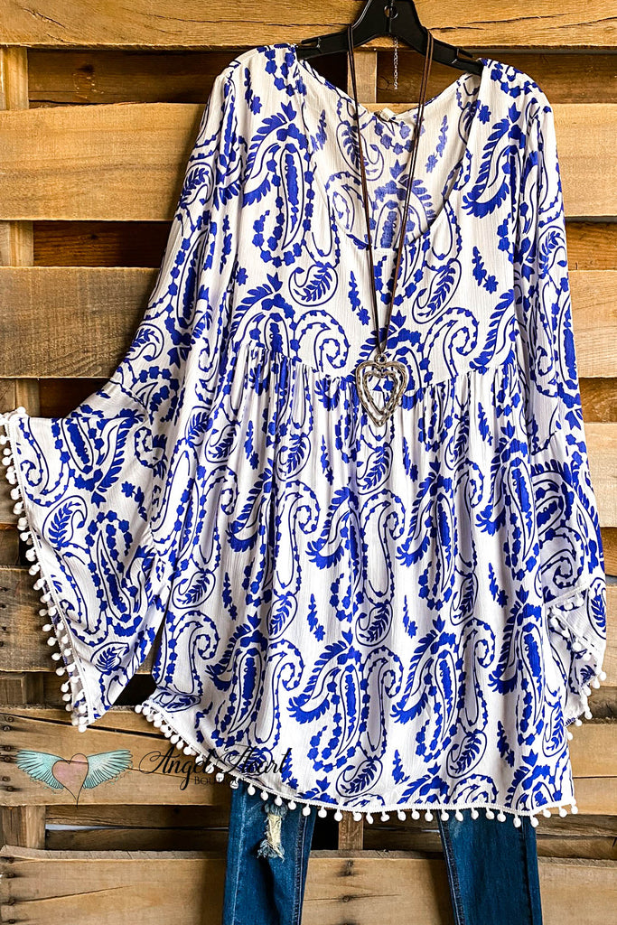 AHB EXCLUSIVE: Settling Down Dress - Blue (BELL SLEEVES WITH TRIM)