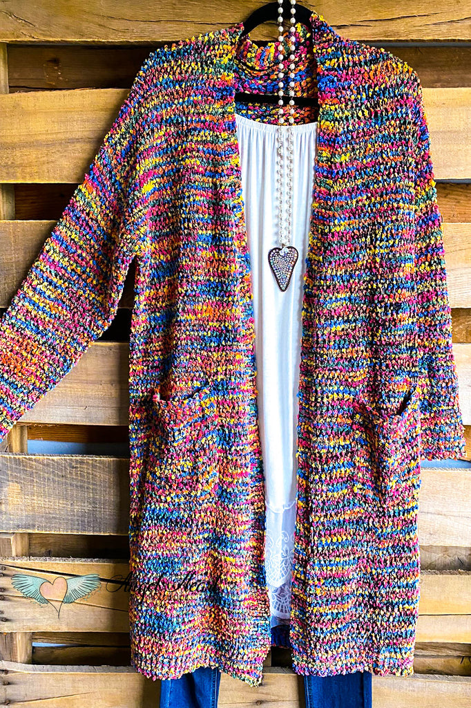 Snow Wonders Sweater Cardigan - Multicolored/Black
