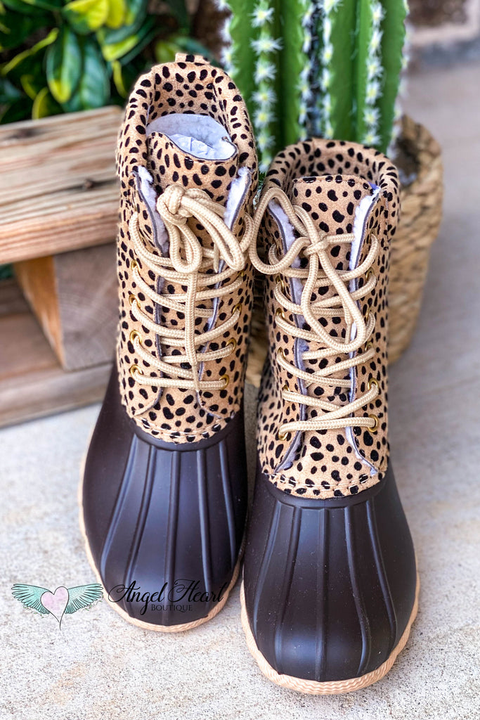 Someone Like You Laced Boots - Cheetah Print