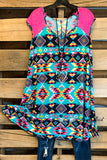 Aztec Vibes Tunic/Dress - Jade/Pink