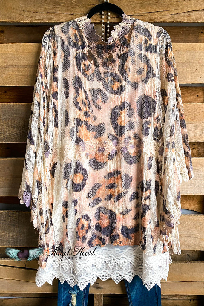 AHB EXCLUSIVE: Long Awaited Lace Cardigan - Beige/Leopard