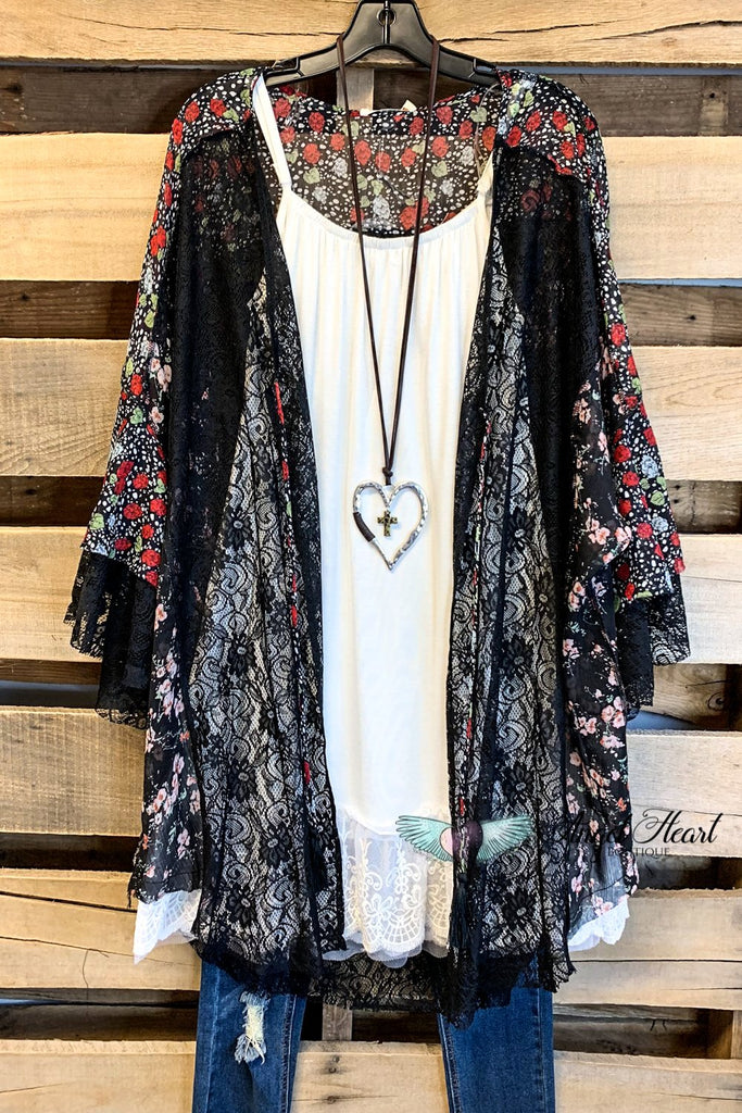 All The Adoration Lace Kimono - Black