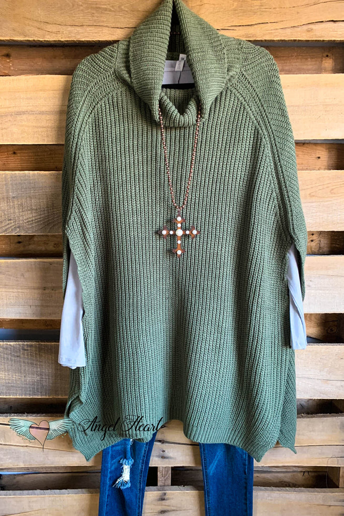 Perfect Turtleneck Poncho - Lt. Olive