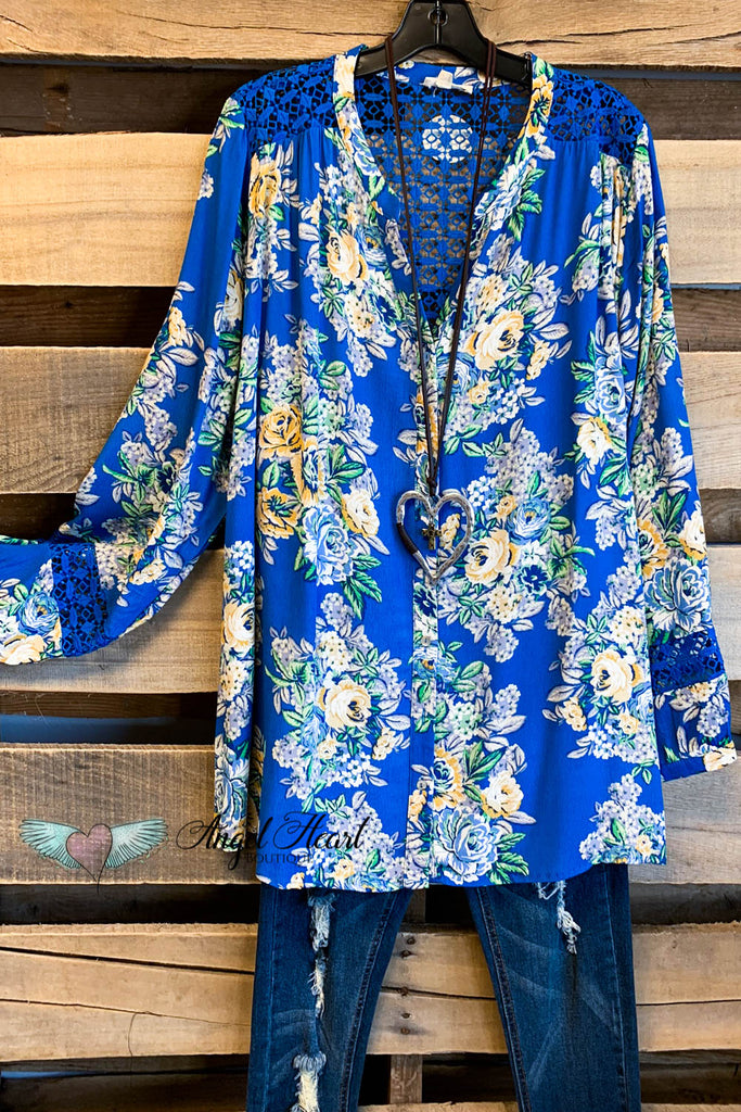 Won't Take Chances Button Down Blouse - Blue Mix