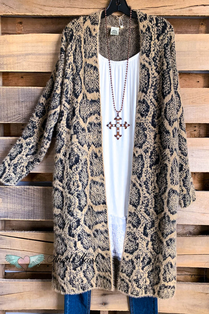 Playing Life Cardigan - Snake Skin Camel