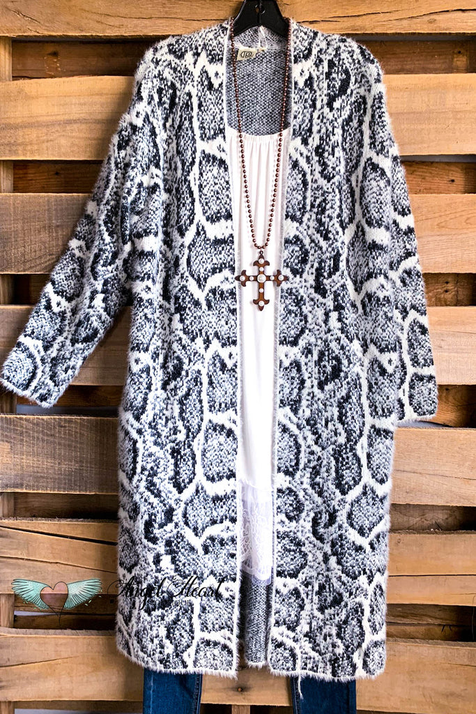 Playing Life Cardigan - Snake Skin Black