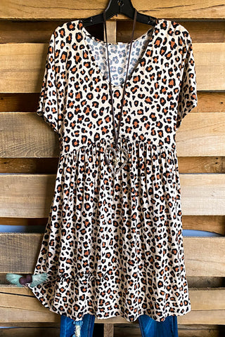 Stop On The Way Kimono - Brown/Leopard