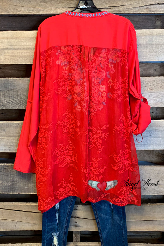 Dancing Till The Day Light Top Lace Back - Red