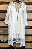 Long Lace Duster with Pearls - Ivory