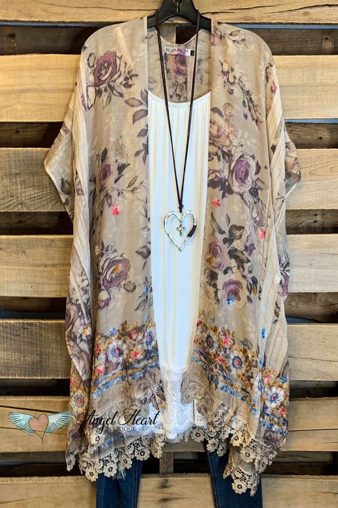 AHB EXCLUSIVE: All the Goodness in the World Kimono - Taupe Printed Fabric (Rose)