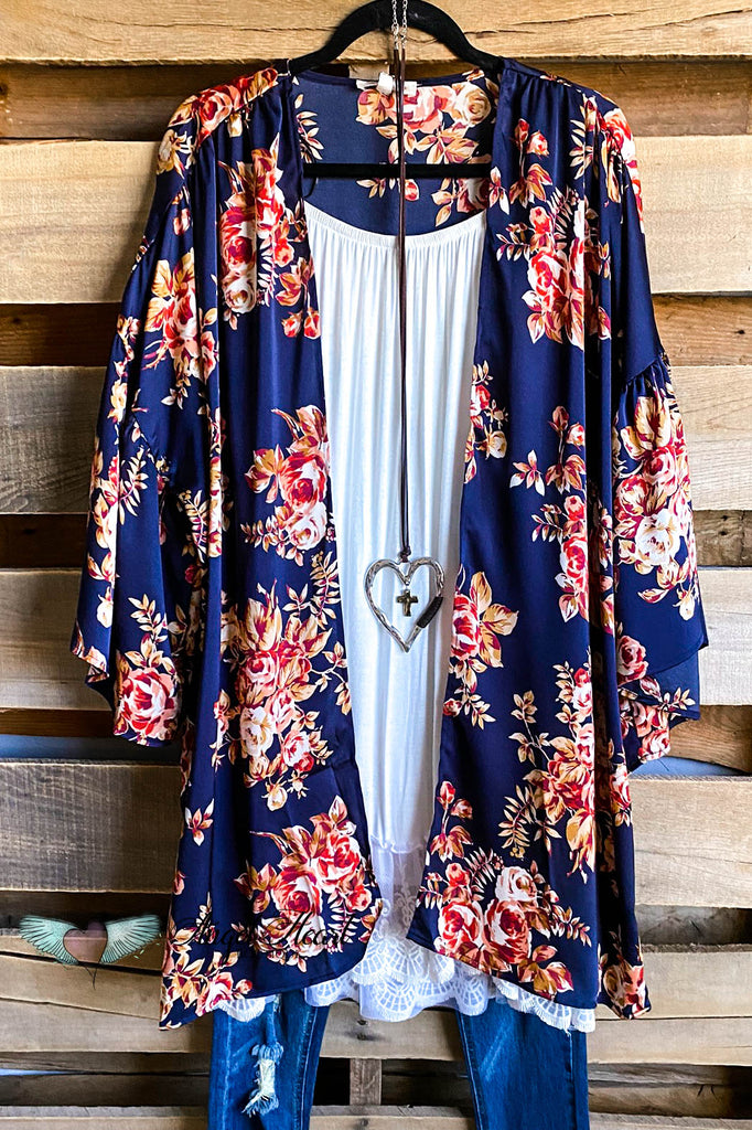Perfectly Matched Kimono - Navy Mix - SALE