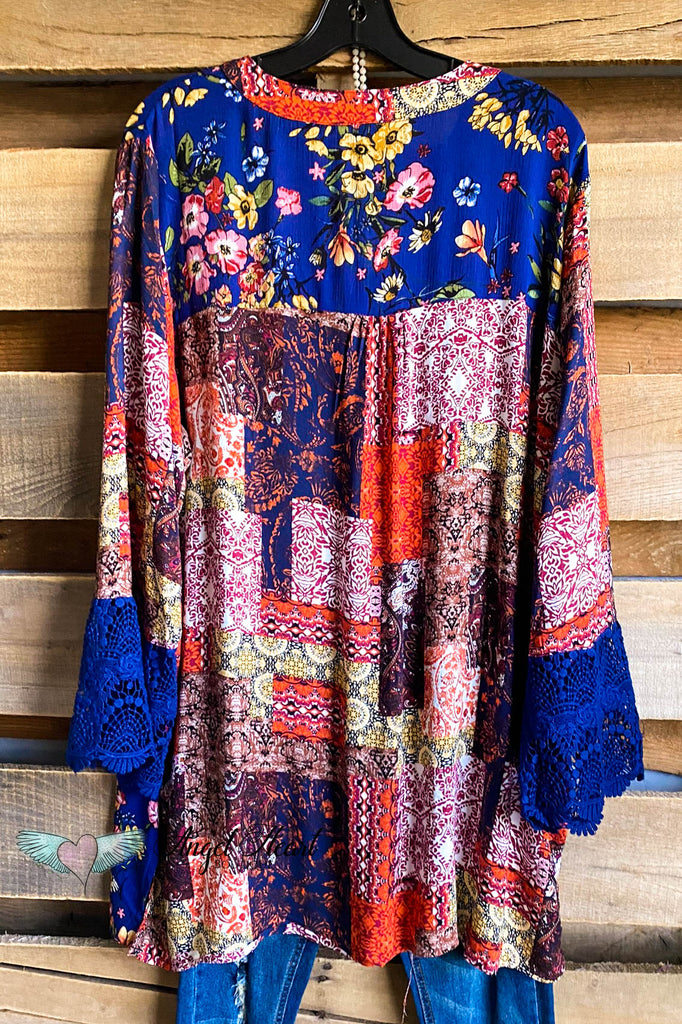 Falling Tonight Tunic - Navy/Brown