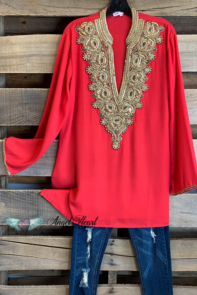 AHB EXCLUSIVE: Arabian Nights Blouse - Coral