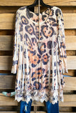Laughing Now Layered Tunic - Beige/Leopard