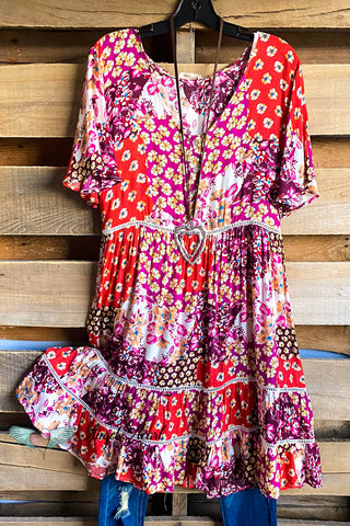 Pretty Paint Dress - Maroon Mix