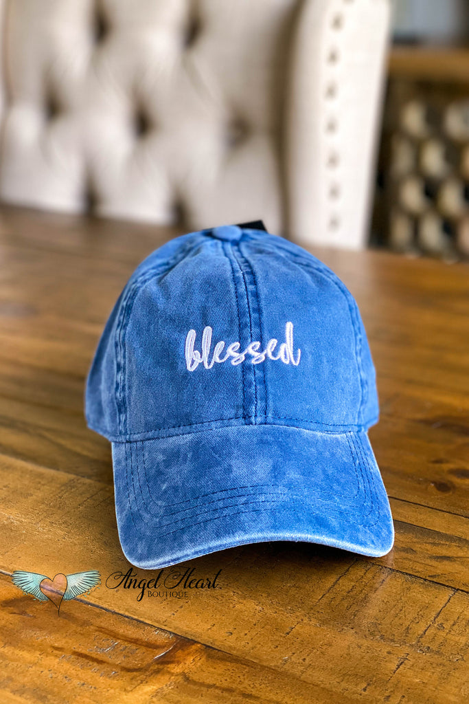 Blessed Embroidery Baseball Cap - Navy