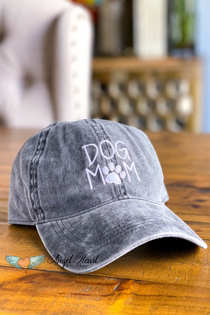 Vintage DOG MOM Embroidered Baseball Hat - BLACK