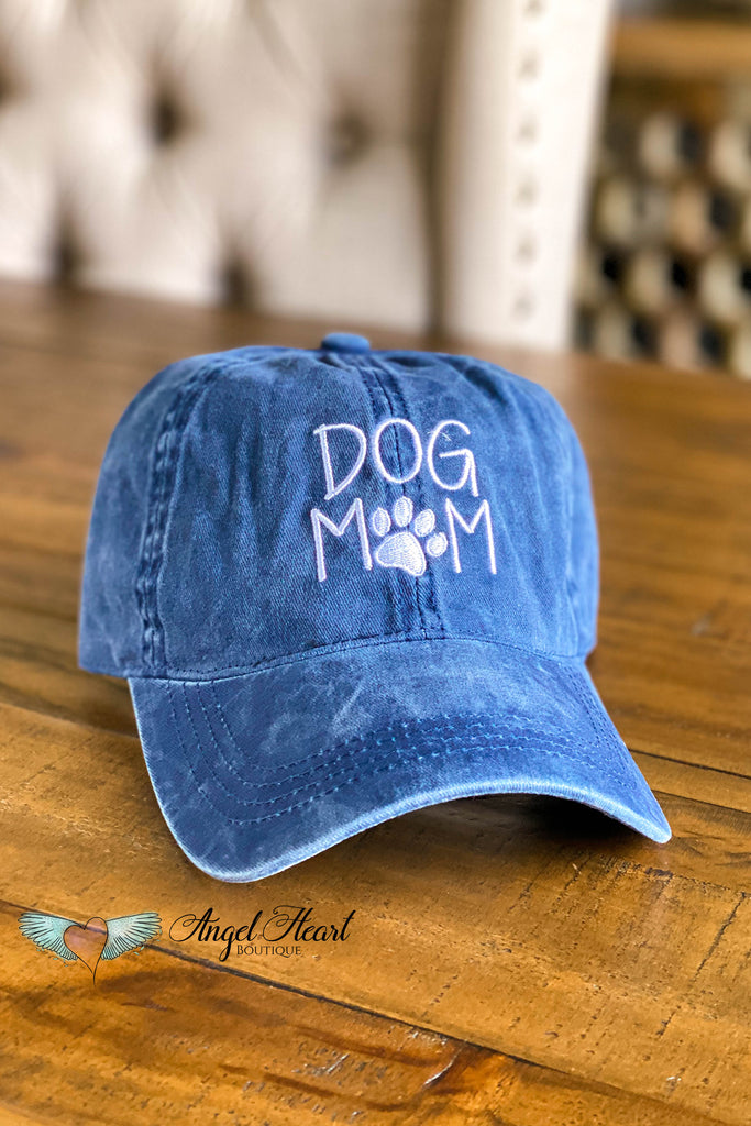 Vintage DOG MOM Embroidered Baseball Hat - NAVY