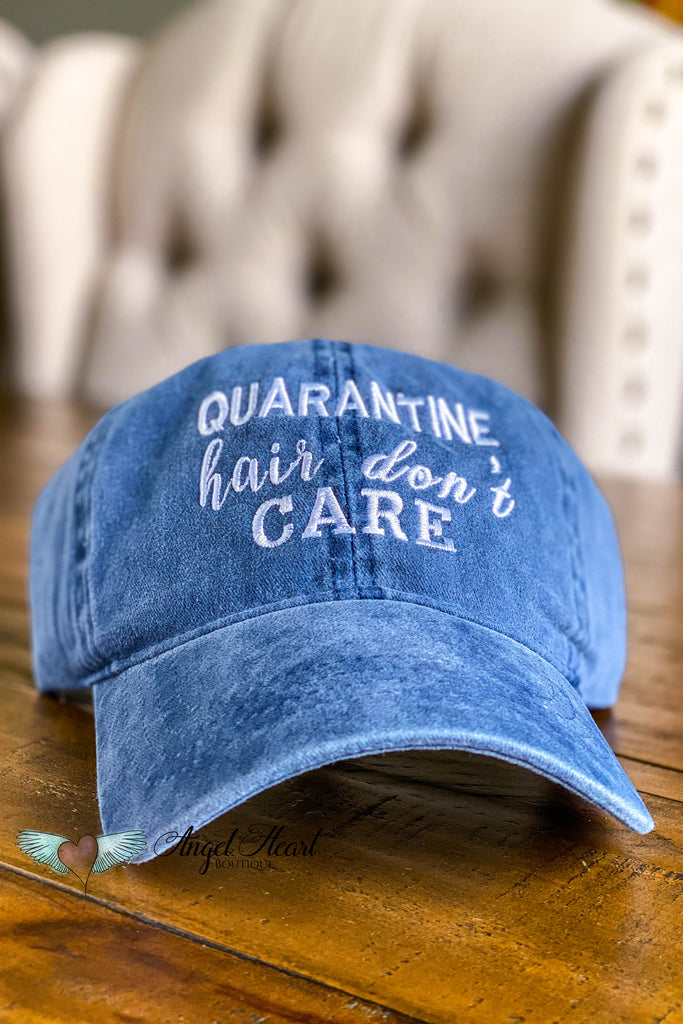 Quarantine Hair Don't Care Embroidered Hat - Navy