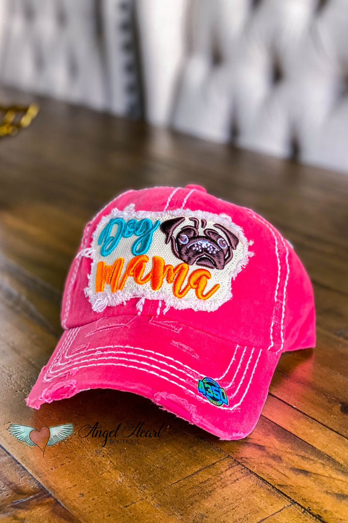 Dog Mama Pug Face Hat - Fuchsia