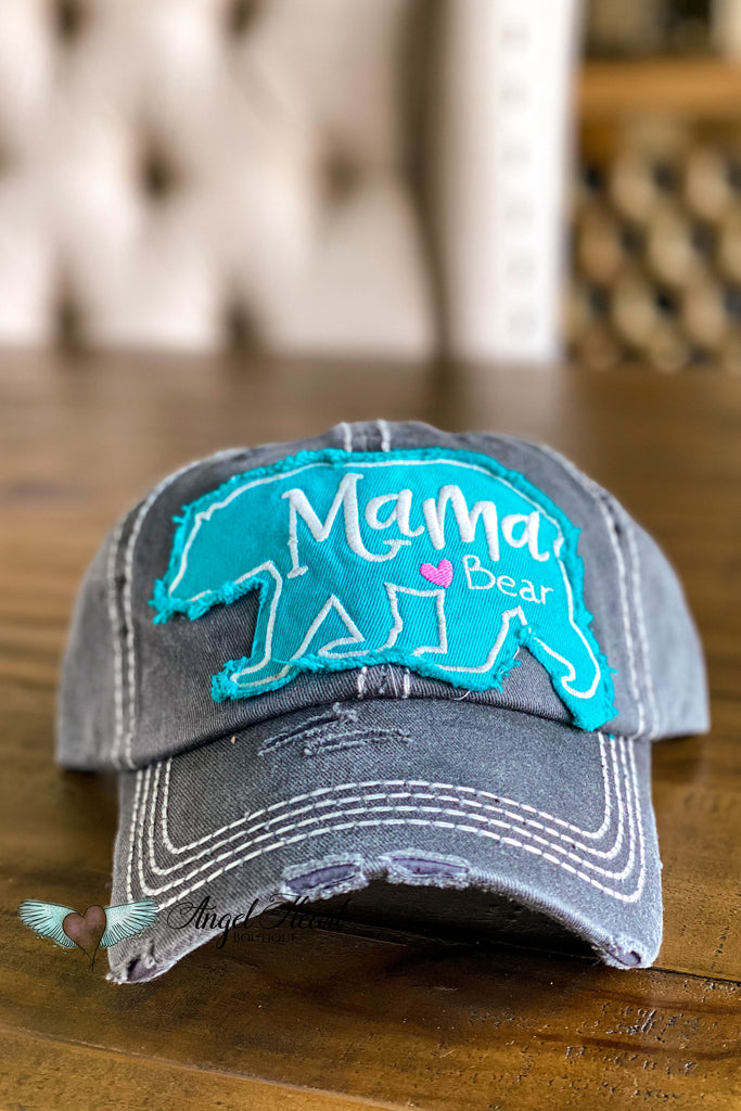 Mama Bear Heart Hat - Black