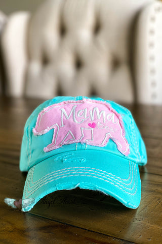Dog Mama Pug Face Hat - Turquoise