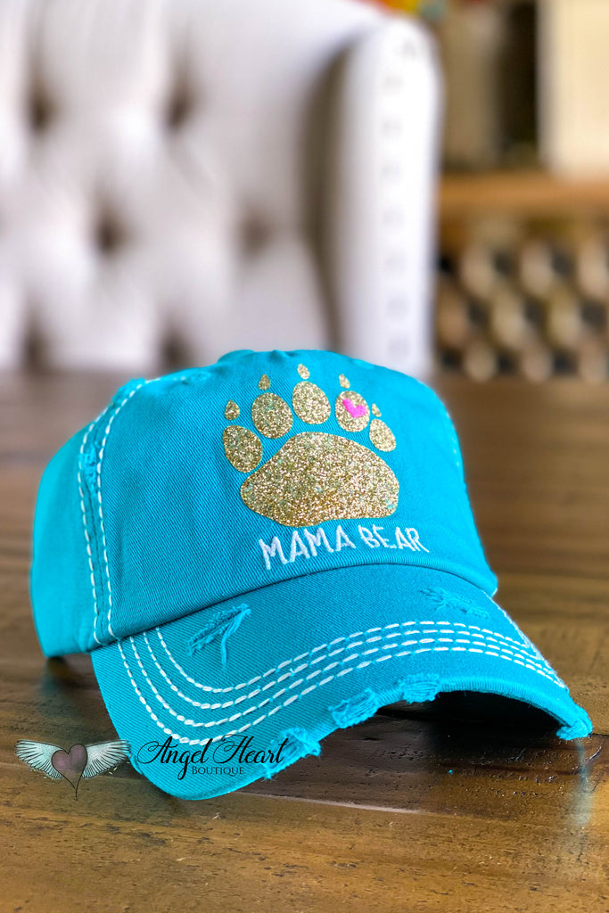 Mama Bear Sequin Hat - Turquoise