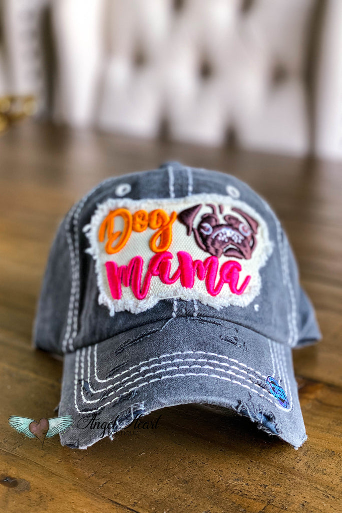 Dog Mama Pug Face Hat - Black