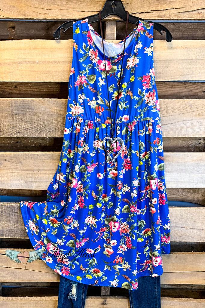 Influenced By Florals Dress - Royal Blue