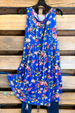Influenced By Florals Dress - Royal Blue - SALE