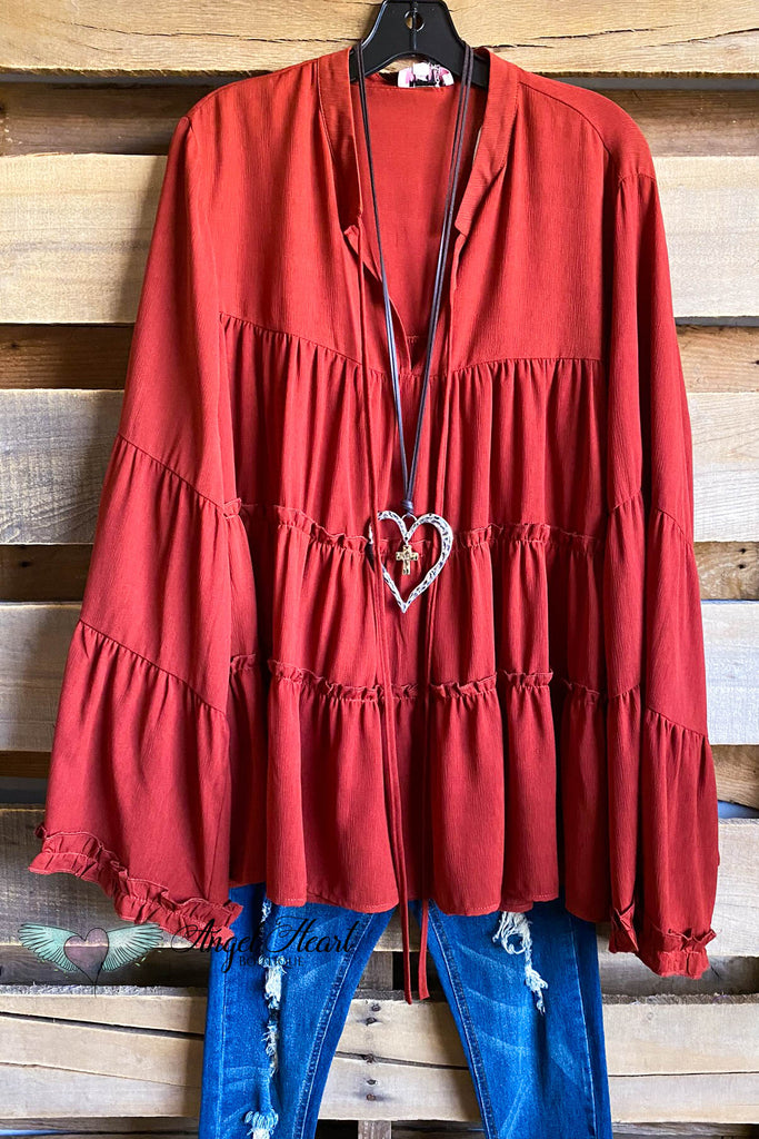 Friendly Front Porch Tunic - Rust - SALE