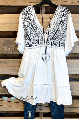 Remember Love Dress - Cream/Blue