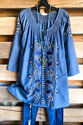 AHB EXCLUSIVE:  Follow The Feeling Dress - Denim Blue