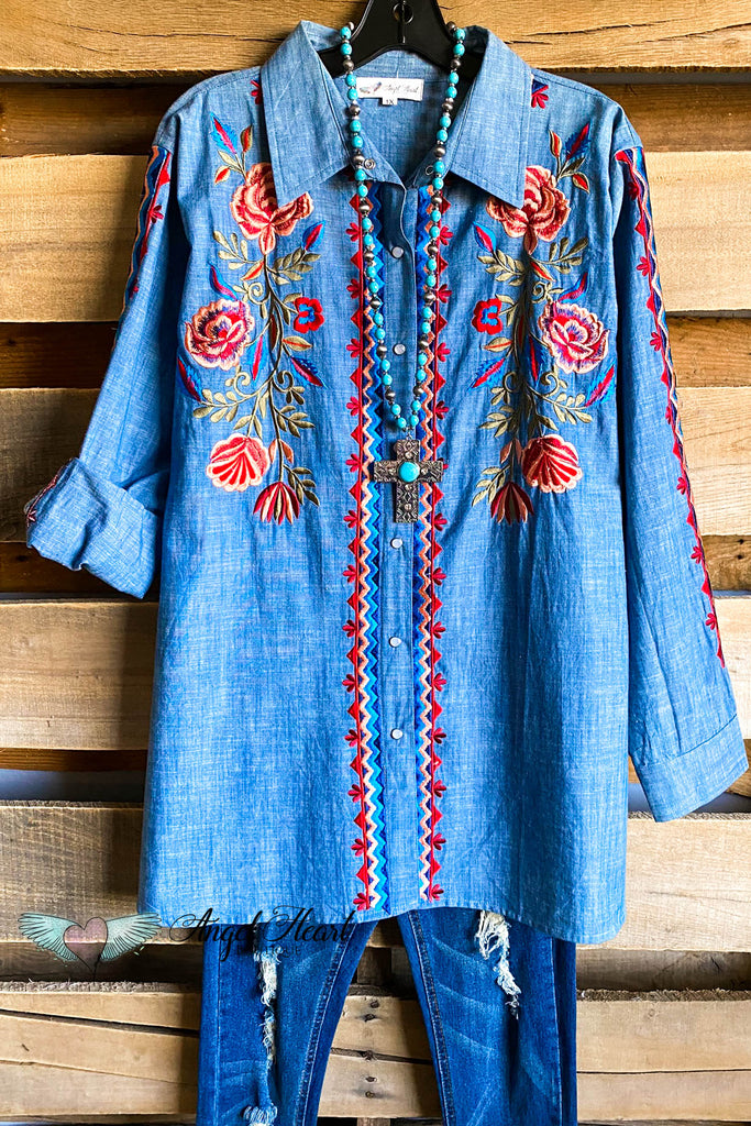 AHB EXCLUSIVE: Racing Love Button Down Tunic - Denim