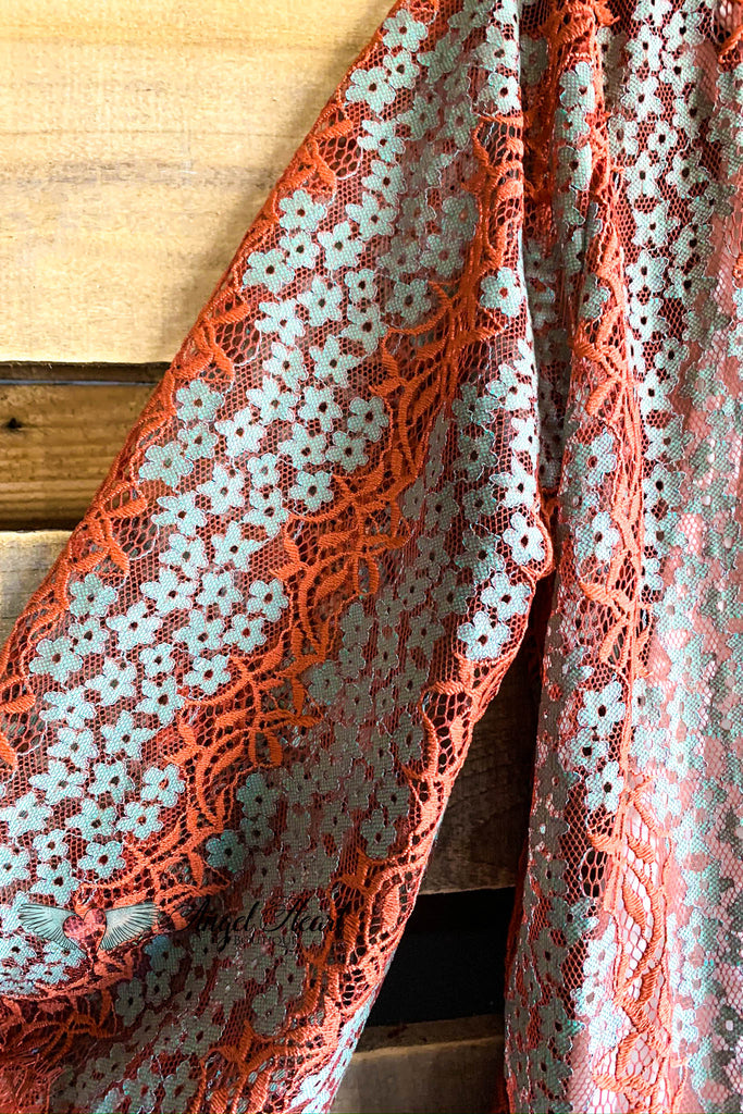 Wandering Through Lace Cardigan - Rust